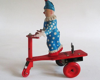 Roli Zoli Tin Litho Clown on Scooter, Vintage Toy, Mechanical Wind Up, Lemezarugyar Style Tricycle