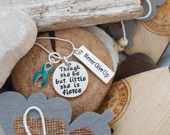 TE-2 Anxiety Jewelry Little She Is Fierce Necklace / PTSD Awareness Anti Anxiety Never Give Up Jewelry / She Is Fierce Necklace