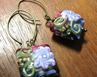 FLOWER Earrings, Murano Glass Lampwork Earrings