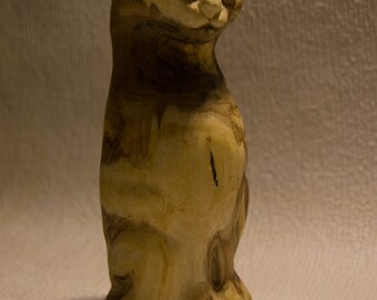 Wood Cat Hand Carved Siberian Rowan Feline 100 % natural materials Handmade