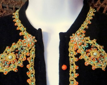 50s Cashmere Sweater with MetallicBraid/Beads/Sequins