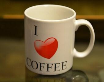 I LOVE Coffee Mug,Love Heart, Typography Mug, Birthday Gift, Christmas Gift,