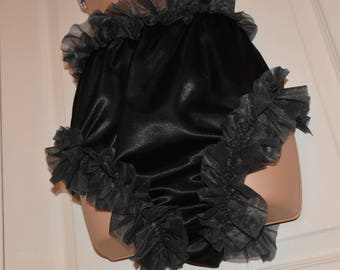Sissy satin slithery chiffon lined posing panties in black....wonderful slithery silky fun - Sissy Lingerie