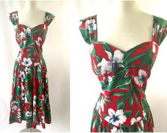 1980s Vintage Hawaiian Floral Dress | 1950s Style Dress | Hibiscus Flower Print | Vintage Hawaii | 1980s Does 1950s | Vintage Clothing