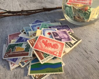 50 UNUSED Vintage Postage Stamps | 3 to 6 Cent Extra Postage