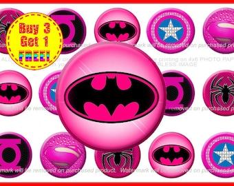 Pink Superheros Bottle Cap Images - Bottle Cap Images - Instant Download - High Resolution Images - Buy 3, Get 1 FREE