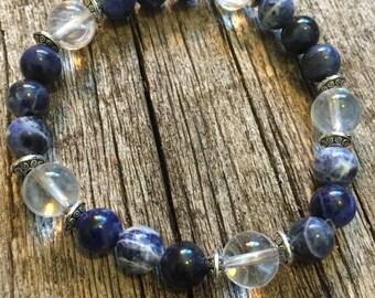 Enhanced Memory.       Senior's Bracelet. Sodalite / Crystal Quartz Healing Bracelet.