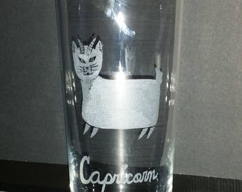 Capricorn the goat from our Kitty Kat  Zodiac series on a 20 oz water glass