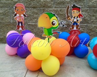 Jake and the Neverland Pirates birthday party wood guest table centerpiece decoration Jake Izzy Cubby Skully Mr. Smee Captain Hook ONLY 1
