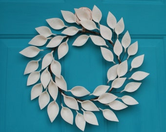"Modern Year Round Wreath - Felt Leaf Wreath in Soft White - Neutral Wreath - 18"" Outside Diameter - Made to Order"