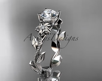 Floral Ring Vintage, Ladies Diamond Ring, Leaf Diamond Engagement Ring, Nature Engagement Ring, Floral Engagement Ring, Diamond Leaf Ring