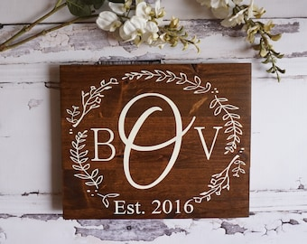 Rustic Home Decor Monogram Wedding Gift Custom Name Sign Pallet Family Established Sign Personalized Name Sign Cream White Farmhouse Decor