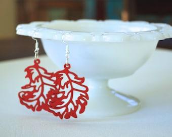 laser cut wooden earrings, wood earrings, red earrings, lightweight earrings, feather earrings, laser cut earrings, popular earrings, summer