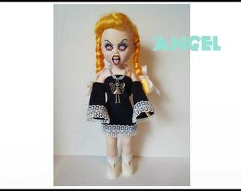 Living Dead Doll Clothes -  ANGEL - Goth Black Dress and Sun Necklace - Handmade Custom Fashion by dolls4emma