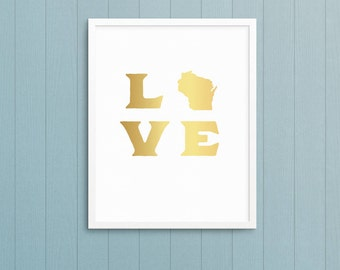 LOVE State print - Love Wisconsin