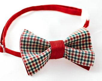 Red and Green Check Bow Tie with Red Neckband -  Checkered Bow Tie for Boys, Birthday Bow Tie, Baby Bow Tie, Wedding Bow Tie Boy, Adjustable