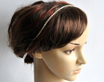 Wedding Headband, Crystal Ribbon Headband, Bridal Rhinestone Headband, Ribbon Headband, Prom Headpiece