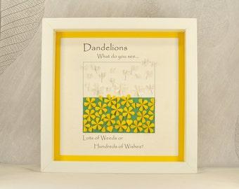 Dandelion wall art, dandelion wishes, dandelion decor, quirky gift, positive quotes, dandelion art