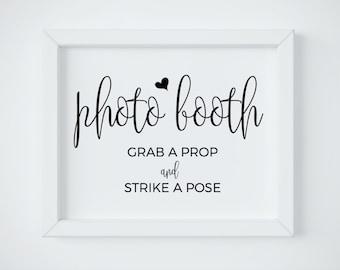 Photo Booth Sign Printable, Printable Wedding Photo Booth, Photo Booth Sign, Grab a Prop Strike a Pose, PDF digital download
