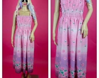Vintage 1980s Pink and Purple Rose Print Peasant Dress