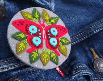 Butterfly felt brooch statement pin - hand embroidery - scandinavian style - unique - limited edition - grey red turquoise nature