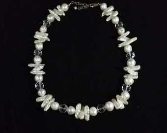 Vintage Freshwater Stick and Round Pearl Necklace with Sterling Silver Clasp