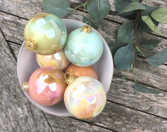 Christmas decorations Glass Baubles - Luxury Vintage Handmade Christmas Glass Ornaments Set of 6 Glass Iridescent Handpainted Baubles