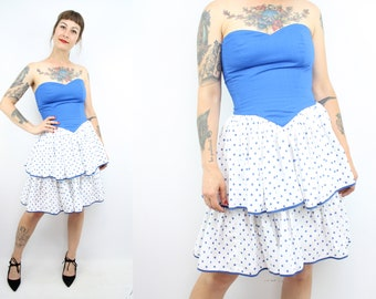 Vintage 80's Blue and White Polka Dot Strapless Ruffles Dress / 1980's Party Dress / Summer / Ruffle Skirt / Women's Size Small