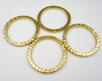 4 Gold Tierracast 1Inch Hammertone Rings