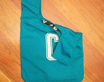 Green netball bib bag reversible - unique netball team gift, gift for mum or bridesmaid - sport bag, book bag, shopping bag – custom
