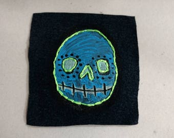 Blue and Neon Skull Patch