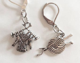 Ball of wool knitting needles sweater mismatched earrings silver tone handmade for pierced ears nickel free