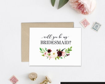 Bridesmaid Proposal Card, Will you Be My Bridesmaid Gift Idea, Maid of Honor Card, Wedding Card, Bridal Party Gift, Wedding Day Card, EB1