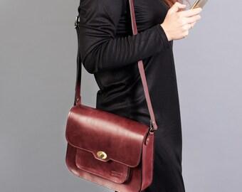 Burgundy leather shoulder bag. Leather crossbody bag. Leather satchel bag. Burgundy leather bag.  Satchel women.