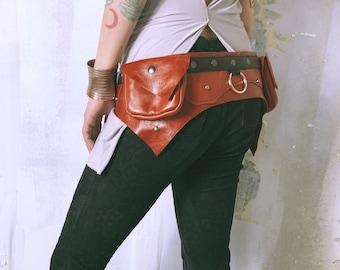 Leather Utility Belt / Festival Belt / Pocket Belt / Leather Holster / Thigh Holster / Hip Bag / Fanny Pack / Leather / Festival Clothing