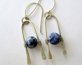Lapis Lazuli Earrings, Denim Lapis and SS Earrings, Sterling and Lapis Dangles, Lapis and SS Drop Earrings, Hammered SS and Lapis earrings