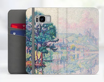 "Paul Signac ""Les Andelys"" Art Samsung Galaxy S8 folio case iPhone 7 folio case Galaxy S9 folio Phone case for iPhone, Samsung. WC-PSI-07"