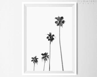 Palm Tree Photography, Black and White Wall Art, Tropical Leaves Home Decor, Printable art, Minimalist Print, Digital, Instant Download