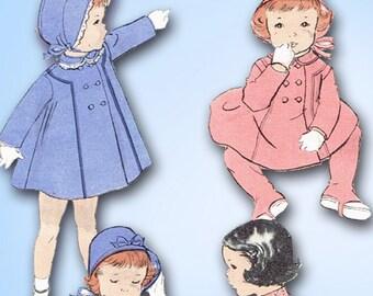 1950s Original Vintage Butterick Pattern 7913 Toddler Girls Flared Coat Size 3