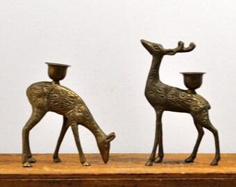 Brass Deer Candlesticks