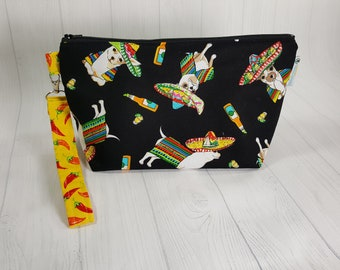 Chihuahua Cinco de Mayo Black Chiwawa, Knitting Project Bag, Small Zippered Wedge Bag, Zipper Knitting Bag, Cosmetic Bag WS0081