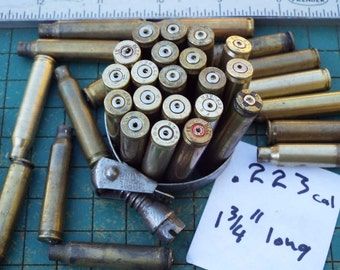 Brass Bullet shell casings, Drilled, 223 rifle, 10 count, jewelry supply, spent ammo, steampunk, assemblage, found art jewelry