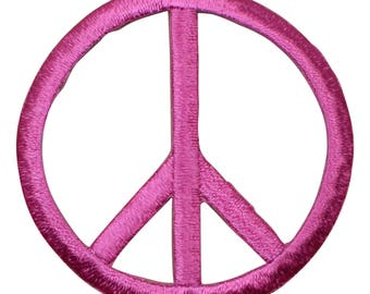 Pink Peace Sign Patch - World Peace (Iron on)