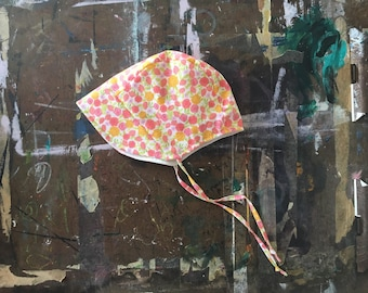 classic floral baby bonnet hat infant or toddler sunhat beach summer fall spring sunbonnet sun hat baby gift