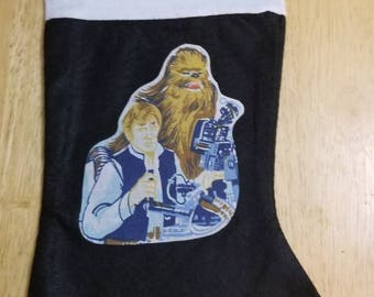 Star Wars black felt stocking with vintage Han Solo and Chewbacca applique