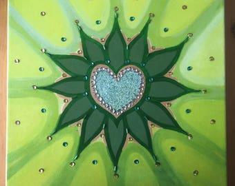 Original Unique Hand Embellished Print 'Heart Radiance'
