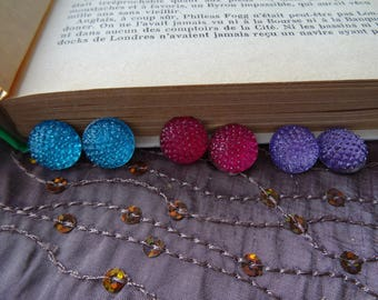 set of 3 raspberry pink disco cabochon studs, turquoise blue and purple