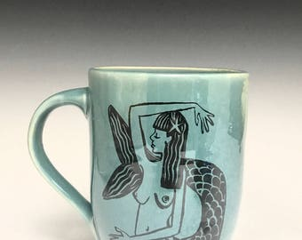 Hand Thrown Mug: Key West Mermaid