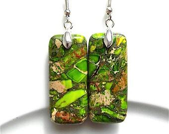 dangle earrings, sea sediment jasper gem stones for pierced ears.