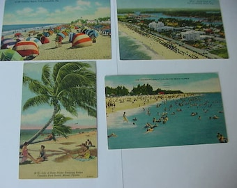 4 Vintage 1950s Florida Postcards, Beaches, USED, Fort Lauderdale, Crandon Park, Clearwater, Linen, Scrapbooking, Collage, Altered Art, Lot